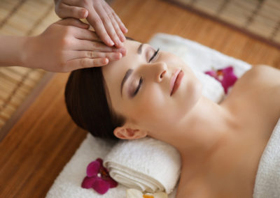 Young, beautiful and healthy woman in spa salon. Traditional ori