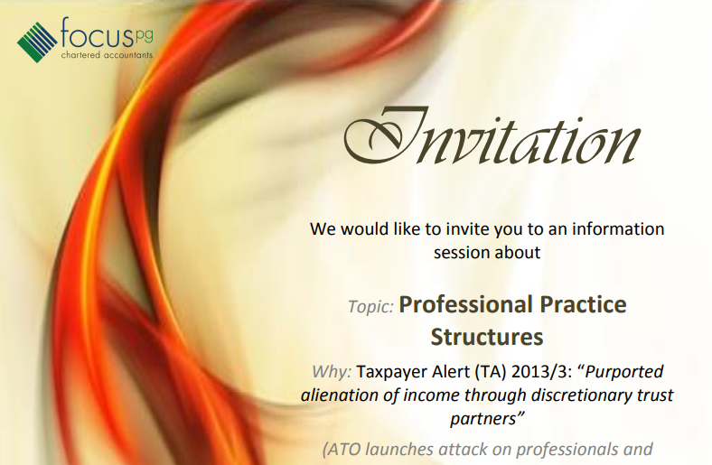 Invitation – Professional Practices